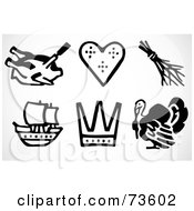 Royalty Free RF Clipart Illustration Of A Digital Collage Of Black And White Thanksgiving Icon Elements by BestVector