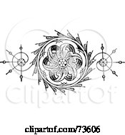 Royalty-Free (RF) Clipart Illustration of a Black And White Floral Element With Swirls And Leaves by BestVector #COLLC73606-0144