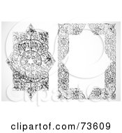 Royalty Free RF Clipart Illustration Of A Digital Collage Of A Black And White Floral Border Frame And Element Version 2