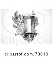 Royalty Free RF Clipart Illustration Of A Black And White One Banknote Element
