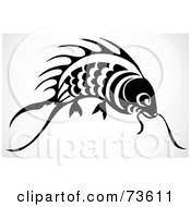 Royalty Free RF Clipart Illustration Of A Black And White Koi Fish