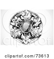 Royalty Free RF Clipart Illustration Of A Black And White Round Floral Element