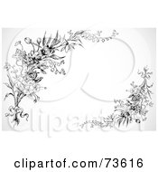 Royalty Free RF Clipart Illustration Of Black And White Floral Corner Elements by BestVector