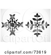 Royalty Free RF Clipart Illustration Of A Black And White Digital Collage Of Flowery Snowflakes by BestVector