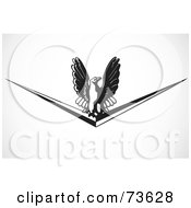 Royalty Free RF Clipart Illustration Of A Black And White Eagle On A Chevron by BestVector