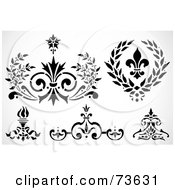 Royalty Free RF Clip Art Illustration Of A Digital Collage Of Black And White Fleur De Lis Elements by BestVector