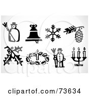 Royalty Free RF Clipart Illustration Of A Digital Collage Of Black And White Icon Christmas Elements by BestVector