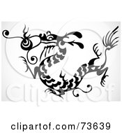 Royalty Free RF Clipart Illustration Of A Black And White Long Dragon With Scales by BestVector