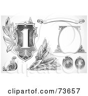 Royalty Free RF Clipart Illustration Of A Digital Collage Of Black And White Banknote Elements by BestVector