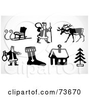 Royalty Free RF Clipart Illustration Of A Digital Collage Of Black And White Icon Elements Christmas by BestVector