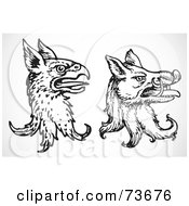 Royalty Free RF Clipart Illustration Of A Digital Collage Of A Black And White Gryphon And Boar by BestVector