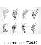 Royalty Free RF Clipart Illustration Of A Digital Collage Of Black And White Floral Sprigs And Bouquets