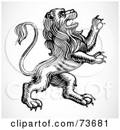 Royalty Free RF Clipart Illustration Of A Black And White Standing Lion