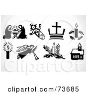 Royalty Free RF Clipart Illustration Of A Digital Collage Of Black And White XMas Icon Elements