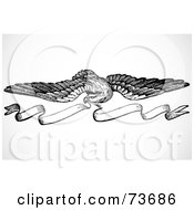 Royalty Free RF Clipart Illustration Of A Black And White Eagle With Banner Border Design Element by BestVector