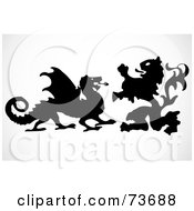 Royalty Free RF Clipart Illustration Of A Digital Collage Of A Silhouetted Lion And Dragon Fighting by BestVector
