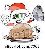 Clipart Picture Of A Santa Claus Mascot Cartoon Character Serving A Thanksgiving Turkey On A Platter