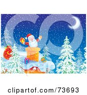 Royalty Free RF Clipart Illustration Of Santa Popping Out Of A Chimney On A Snowy Christmas Eve Night