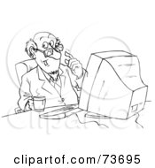Royalty Free RF Clipart Illustration Of A Black And White Outline Of A Businessman Drinking Coffee At His Computer