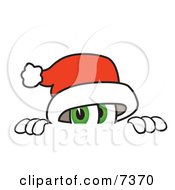 Clipart Picture Of A Santa Claus Mascot Cartoon Character Peeking Over A Surface by Toons4Biz
