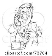 Black And White Outline Of A Happy Businessman On A Phone