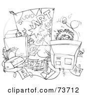 Royalty Free RF Clipart Illustration Of A Black And White Outline Of A Student Behind A Messy Desk