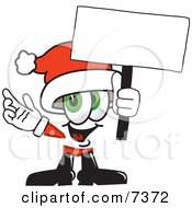 Clipart Picture Of A Santa Claus Mascot Cartoon Character Holding A Blank Sign