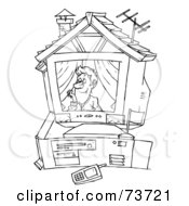 Royalty Free RF Clipart Illustration Of A Black And White Outline Of A Man In A Computer House