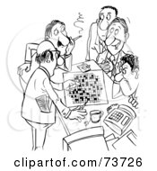 Royalty Free RF Clipart Illustration Of A Black And White Outline Of Men Working On A Crossword Puzzle