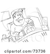 Royalty Free RF Clipart Illustration Of A Black And White Outline Of A Truck Driver Behind The Wheel by Alex Bannykh