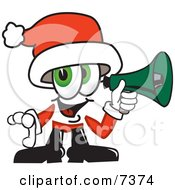 Clipart Picture Of A Santa Claus Mascot Cartoon Character Screaming Into A Megaphone