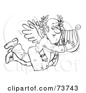 Royalty Free RF Clipart Illustration Of A Black And White Outline Of A Businessman Angel With A Lyre by Alex Bannykh