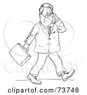 Black And White Outline Of A Businessman Walking And Using A Cell Phone