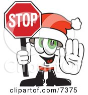 Clipart Picture Of A Santa Claus Mascot Cartoon Character Holding A Stop Sign