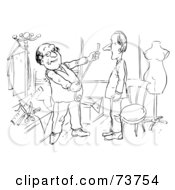 Royalty Free RF Clip Art Illustration Of A Black And White Outline Of A Tailor Measuring A Man