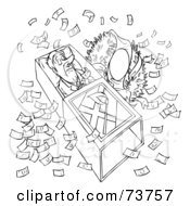 Royalty Free RF Clipart Illustration Of A Black And White Outline Of A Man In A Coffin Surrounded By Money by Alex Bannykh