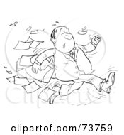 Royalty Free RF Clipart Illustration Of A Black And White Outline Of A Running Businessman Dropping Papers