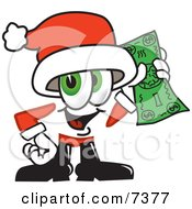 Clipart Picture Of A Santa Claus Mascot Cartoon Character Holding A Dollar Bill