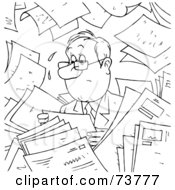 Royalty Free RF Clipart Illustration Of A Black And White Outline Of A Nervous Businessman Surrounded By Papers by Alex Bannykh