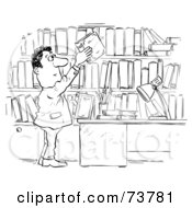 Royalty Free RF Clipart Illustration Of A Black And White Outline Of A Man Archiving His Books