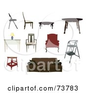 Royalty Free RF Clipart Illustration Of A Digital Collage Of Furniture Chairs Tables Desk Step Stool Stool And Couch