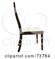 Royalty Free RF Clipart Illustration Of A Simple Dark Wood Chair With A White Seat by JR