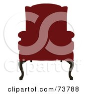 Royalty Free RF Clipart Illustration Of An Antique Red Recliner Chair by JR