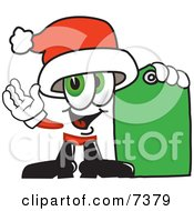 Santa Claus Mascot Cartoon Character Holding A Yellow Sales Price Tag