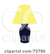 Royalty Free RF Clipart Illustration Of A Dark Table Lamp With A Yellow Shade