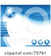 Royalty Free RF Clipart Illustration Of A Background Of Four Blue Grid Globes With Waves Around White Text Space by elena
