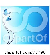 Royalty Free RF Clipart Illustration Of A Gradient Blue Background With Two Blue Butterflies And Trailing Waves by elena