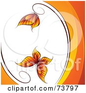 White Background With Two Orange Butterflies And Waves