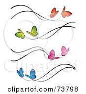 Digital Collage Of Orange Green Pink And Blue Butterflies With Black Trails