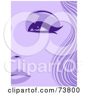Royalty Free RF Clipart Illustration Of A Closeup Of A Purple Womans Face With Thick Eyeliner And Wavy Hair